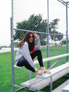 Sideline style #Leggings #Crew #TailgateWithPINK