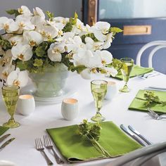 Love the green and white reception wedding flowers,  wedding decor, wedding flower centerpiece, wedding flower arrangement, add pic source on comment and we will update it. www.myfloweraffair.com can create this beautiful wedding flower look.