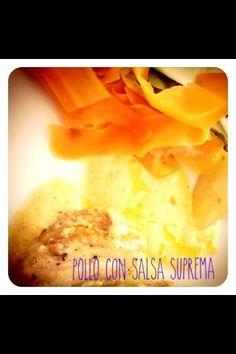 Pollo con salsa suprema. Receta de thermomix. Dos platos en uno!!!! http://thermocuina.cat/?recipe=crema-de-verdures-i-pollastre-al-vapor-amb-salsa-suprema
