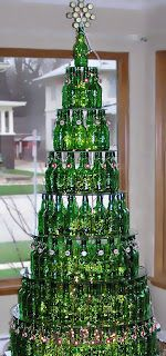 bottle Christmas tree: what guy wouldn't love making one of these?