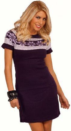 Short Sleeve Raw Edge Knitted Design Knee Length Winter Print Patterned Dress