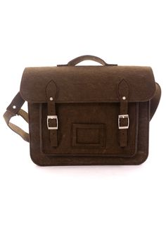 Felt Old School Satchel in Chocolate - Retro