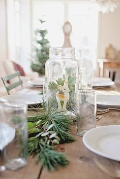 pretty tablescape from Maria at Dreamy Whites  http://dreamywhites.blogspot.com/2013/11/french-farmhouse-christmas-simple.html