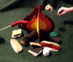 Childrens felt CampFire, Deluxe Soft-Play set inclds Marshmallows, Smores & Hot Dogs with Campfire,Logs more. $75.00, via Etsy.