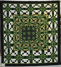 3-D green quilt by Gitte, posted by Hanne Hector Schroeder (Denmark)