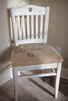 burlap chair redo