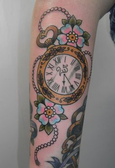 Done by Gemma, Cherrys Tattoos, Barking and Dagenham    I am a sucker for stuff like this, even if the cotton candy forget-me-nots freak me out. pocketwatch, cotton candy, old clocks, cherri tattoo, watch tattoo, pockets, pocket watches, flower tattoos, cherry blossoms
