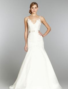 Tara Keely - V-Neck A-Line Gown in Mikado