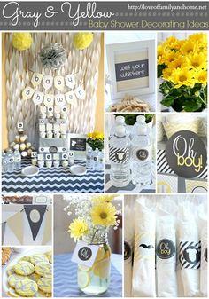 Gray & Yellow Baby Shower Decor. love this!