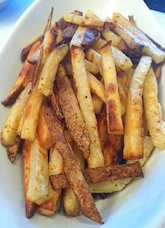 Crispy Baked Homemade Fries -  Why not ditch the frozen bag version that can be full of unnatural ingredients and opt for field fresh potatoes that crisp up nicely in your oven?