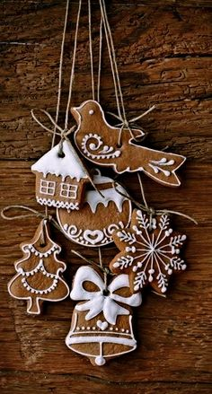 iced gingerbread cookies or make out of the cinnamon scented ornament dough recipe