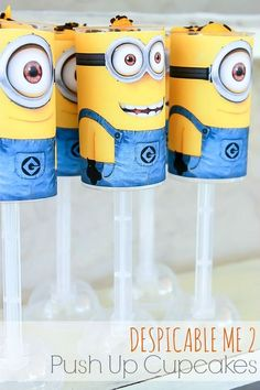 Despicable Me 2 - Push Up Cupcake Tutorial and Free Printable #DespicableMe2