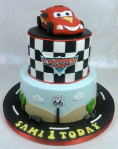 Cars - Lightening McQueen Birthday Cake - with link to tutorial - by FancyCakesbyLinda @ CakesDecor.com - cake decorating website