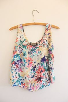 Summer Crop Top / Vintage Floral Blouse by LlorePemberton on Etsy, $15.00