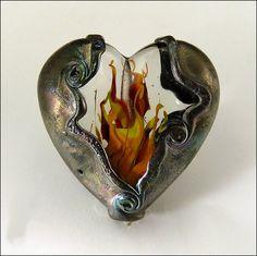HEARTS ON FIRE  Handmade Lampwork Heart by beadsbystephanie on Etsy