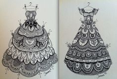 Lace dresses zentangle By Jenna Mancini