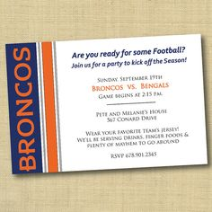 Denver Broncos Football Superbowl Party Invitation  DIY by DovetailDesigns