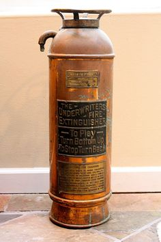 Vintage Copper And Brass Fire Extinguisher. mysweetsavannah.