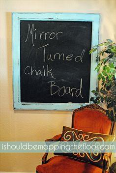 Mirror turned chalk board