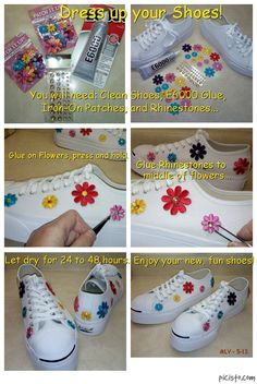 This is a fun summer (or Holiday) project to do! Dress up your old or new shoes with colorful & fun embroidered flower appliques! You just need a pair of clean shoes, a tube of E6000 craft glue, embroidered appliques (iron-ons are okay), and rhinestones. Just glue the appliques to the shoes, then press and hold. Then glue the rhinestones to the middle of flowers. Let glue dry for at least 24 to 48 hours before wearing. Watch how many complements you get on your new, sparkly, colorful shoes!