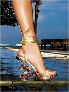 Beach Gold Wedding Shoes