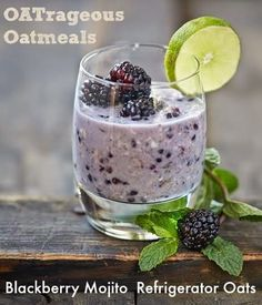 Recipe from OATrageous Oatmeals for the perfect, easy summer breakfast: Blackberry Mojito Overnight Refrigerated Oats
