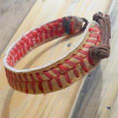 Really nice and cool looking! My boyfriend wears his everyday and he DOES NOT wear jewelry haha    THE REAL Adjustable Baseball Bracelet youth & adult, Baseball Bracelet, Mens Bracelet, Leather Bracelet, Bracelet, Mens Leather Bracelet. $18.95, via Etsy.