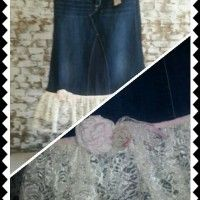 """This purchase is a for a custom made jean skirt made from jeans in the """"Amazing Lace"""" design. For all your romantics, the Amazing Lace offers two rows of beautiful handpicked lace that is placed horizontally across the denim... For more info or to order: http://www.lovemyjeanskirt.com/shop/junior-misses-size-0-8/amazing-lace-long-modest-feminine-denim-lace-jean-skirt-women-jrms/"""