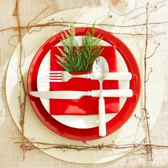 Red-and-White Natural Place Setting