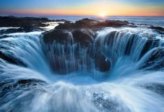 "The Natural Menace Of Thor's Well      Sometimes dubbed the ""Pacific Gateway to the Underworld,"" Thor's Well is part of Cape Perpetua, a typical Pacific Northwest headland – a forested area of land on the central Oregon Coast, surrounded by water on three sides."