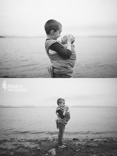 Sibling Moment from BlueTree_Photography. Oliver wearing Alistair in our Moby wrap.