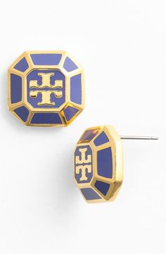 Tory Burch 'Rylan' Logo Stud Earrings available at Nordstrom