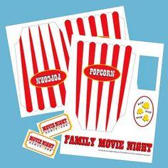Printable Popcorn Box. Fun for Family Movie Night