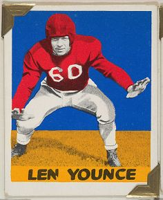 Leaf Gum, Co., Chicago, IL. Len Younce, from the All-Star Football series (R401-2), issued by Leaf Gum Company, 1948. The Metropolitan Museum of Art, New York. The Jefferson R. Burdick Collection, Gift of Jefferson R. Burdick (Burdick 326, R401-2.56) #MetGridironGreats