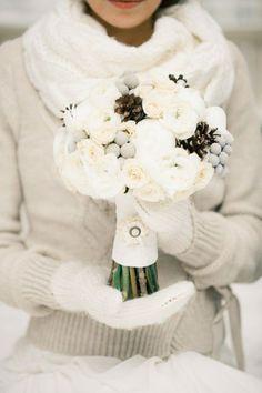winter wedding bouquet wedding dressses, sweater, idea, wedding bouquets, brides, white, winter bride, winter weddings, flower