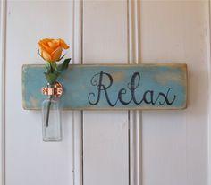 Wall Flower Vase, Relax, Antique Bottle, Copper Hanger, Spring, Home Decor, Light Blue Chalk Paint. $39.95, via Etsy.