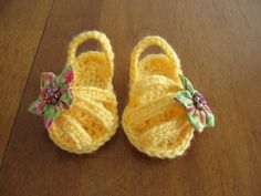 @Jenn L Jackson How To Make Crochet Baby Barefoot Sandals | Yellow baby girl crochet spring sandals by LaNinaBellaBoutique