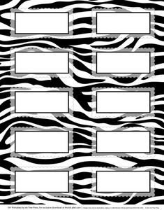 Zebra and other animal labels to print