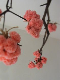 Cherry blossom tissue paper pom poms on branches