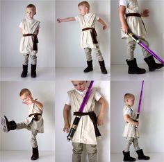 jedi costum, costume ideas, star wars halloween costumes, kid inspir, costume halloween, boy costumes diy