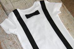 bowtie and suspender onesie