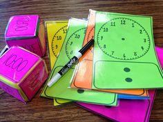 Een leuke oefening om in een hoekenwerk te stoppen. De leerlingen moeten met de dobbelsteen gooien, om daarna de juiste wijzers op de klok te tekenen. Het kan gebruikt worden in elk leerjaar mits aanpassing.