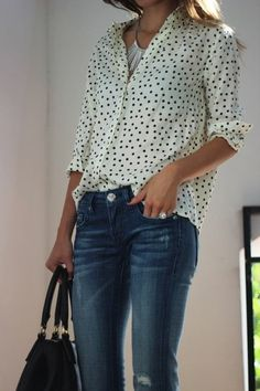 "Cute top and jeans with a statement necklace. This must be the easiest ""running-around-town"" outfit ever."