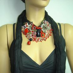 Needle lace BLACK cotton necklace scarf with red oya flowers and onyx and coral stones jewelry. $120.00, via Etsy.  Istanbuloya (shop)