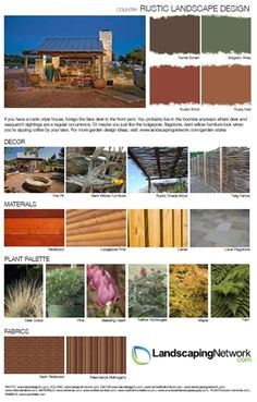 Bent willow furniture, local flagstone and pine trees are some of the staples of a rustic landscape. Find a printable PDF of this style guide at http://www.landscapingnetwork.com/garden-styles/Rustic-Landscape-Design.pdf .
