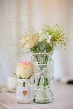 pretty pearl and flowers table decor captured by Blackbox Photography