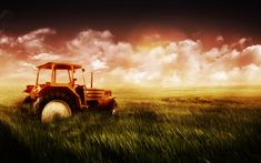 old tractors in the fields