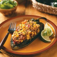 Low carb   Poblanos Stuffed with Chipotle Turkey Chili Recipe