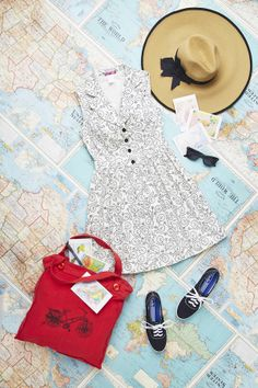 Adventuring this summer? From faraway lands to exploring your own hometown, show us your trip tidbits with #modsummer! In this outfit: Taking on Tulsa Dress in Pennyfarthings, Make Big Waves Sunhat, Unisexy Sunglasses, The Art of Instruction Postcards, Very Important Skate Sneaker