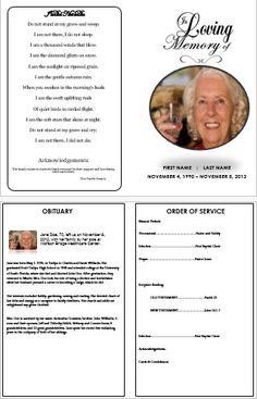 'In Loving Memory' Traditional Single Fold Funeral Template for Microsoft Word. Find more programs for a memorial service, funeral brochures, cards, and leaflets available at http://funeralpamphlets.com . Download and Print as many as you would like. #FuneralOrderOfServiceTemplate #MemorialOrderofServiceCard  #PrintableFuneralCards